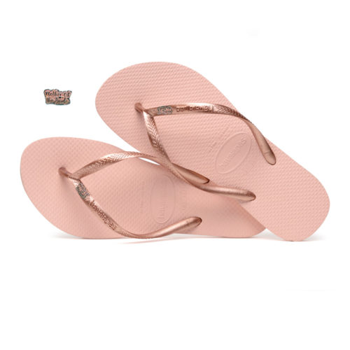 Havaianas Ballet Rose Flip Flops with Pink Glitter Mother of the Bride Pin