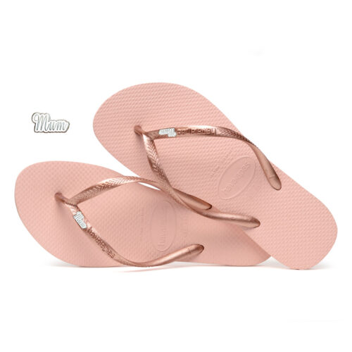 Havaianas Ballet Rose Flip Flops with Silver Mum Charm