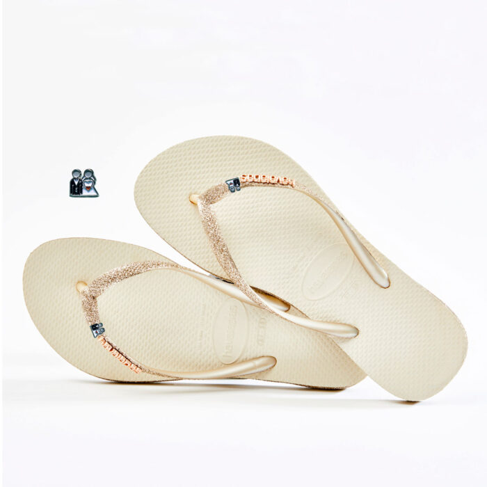 havaianas slim beige sparkle bride and groom wedding