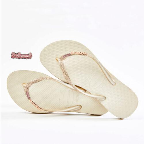 Pink Glitter Bridesmaid Havaianas Slim beige Sparkle Wedding Havaianas