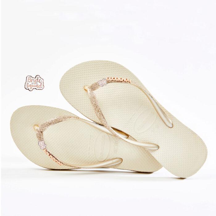 havaianas slim beige glitter bride squad rose gold