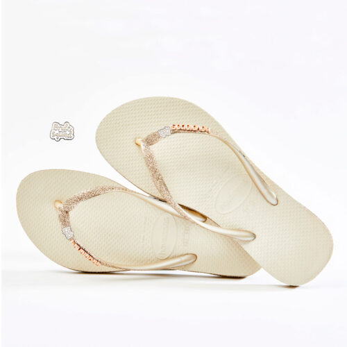 havaianas slim beige sparkle BRIDE SQUAD silver and white