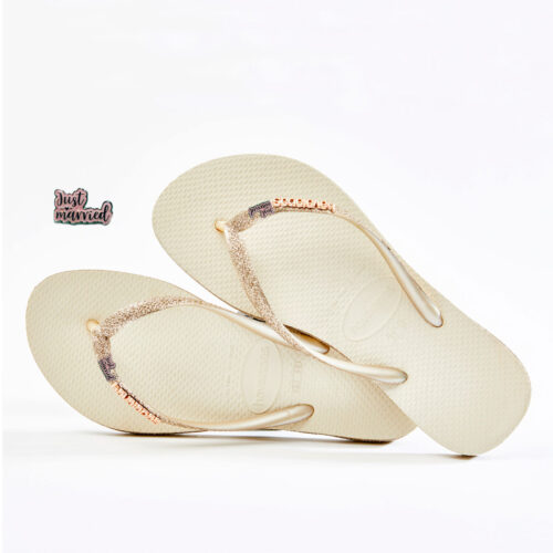 Just Married Pink Glitter Havaianas Slim Beige Sparkle Wedding