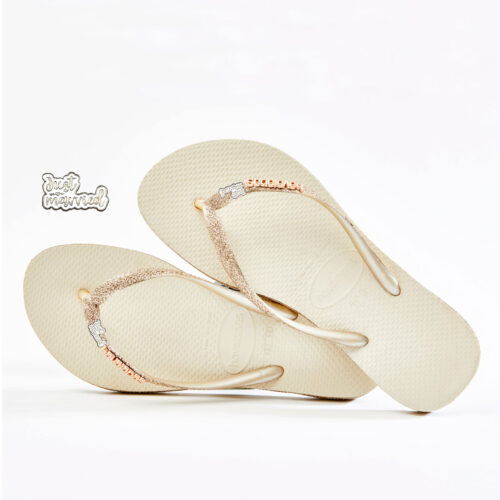 havaianas slim beige sparkle just married silver and white