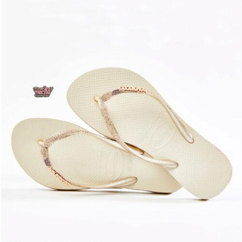 havaianas slim beige sparkle glitter pink glitter maid of honour