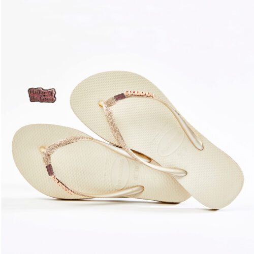 Havaianas Beige Sparkle Flip Flops Pink Glitter Mother of the Groom