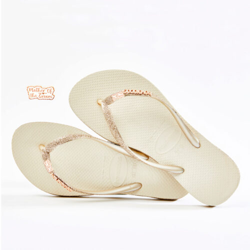 Rose Gold Mother of the Groom Havaianas Beige Sparkle Wedding