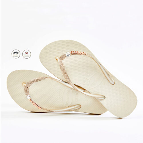 havaianas slim beige sparkle edition Mr and Mrs