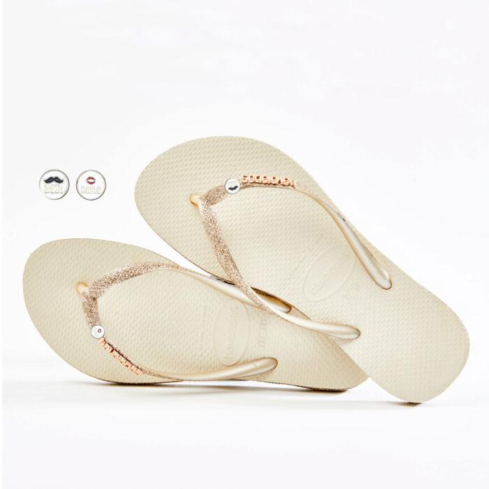 havaianas slim beige sparkle edition Mr and Mrs