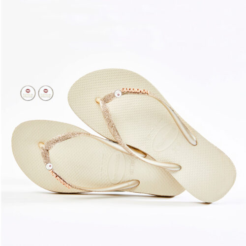 Havaianas Beige Sparkle Flip Flops with Mrs & Mrs Wedding Charm