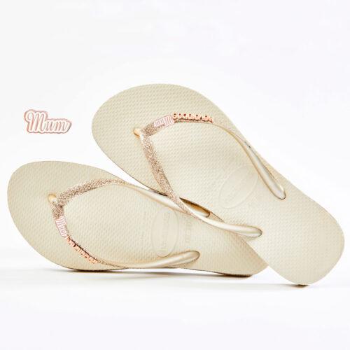 Rose Gold Mum Havaianas Slim Beige Sparkle flip flops