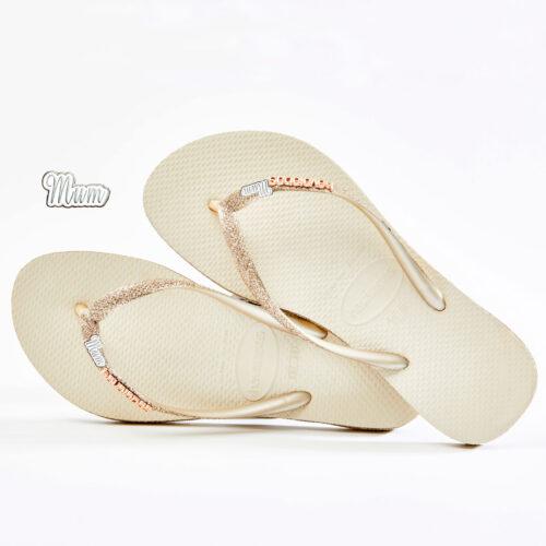 Silver Mum Havaianas Slim Beige Sparkle flip flops