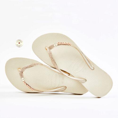 havaianas slim beige sparkle glitter silver engraved