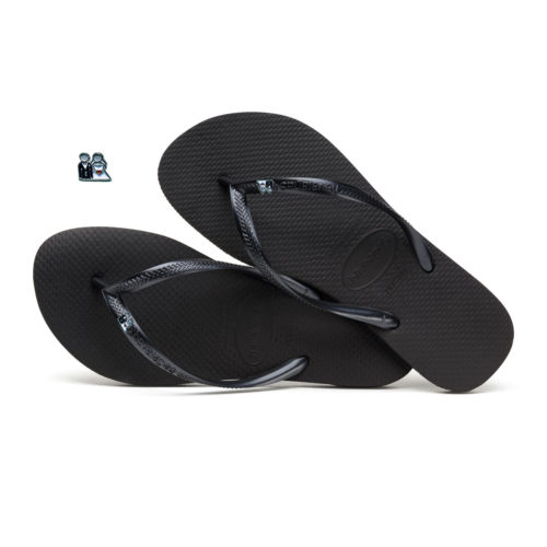 Havaianas Black Slim Flip Flops with Silver Bride Groom Wedding Charm