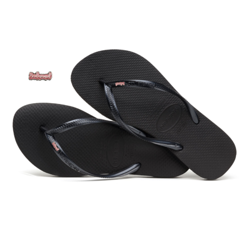 Havaianas Slim Black Flip-Flops with Pink Glitter Bridesmaid Charm