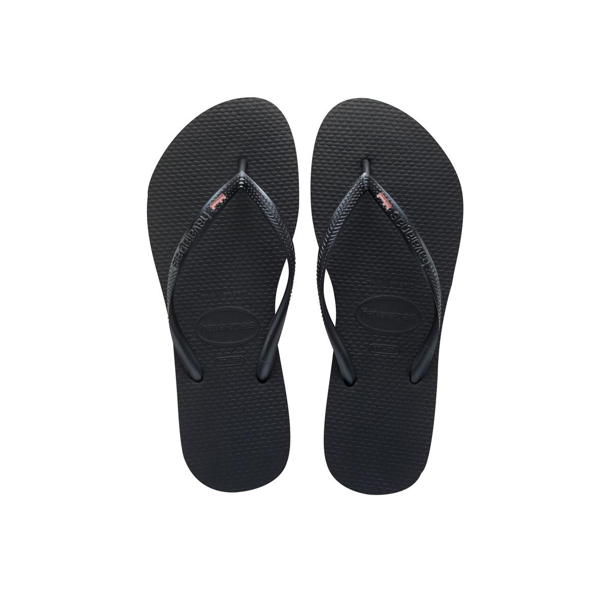 Havaianas Slim Black Flip-Flops with Pink Glitter Bridesmaid Charm