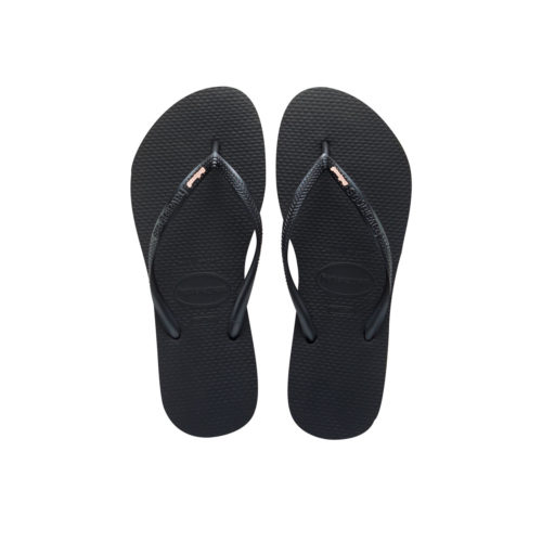 Havaianas Black Slim Flip Flops with Rose Gold Bridesmaid Charm