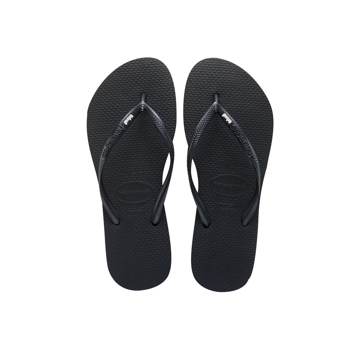 Havaianas Black Slim Flip Flops with Silver & White Bridesmaid Charm