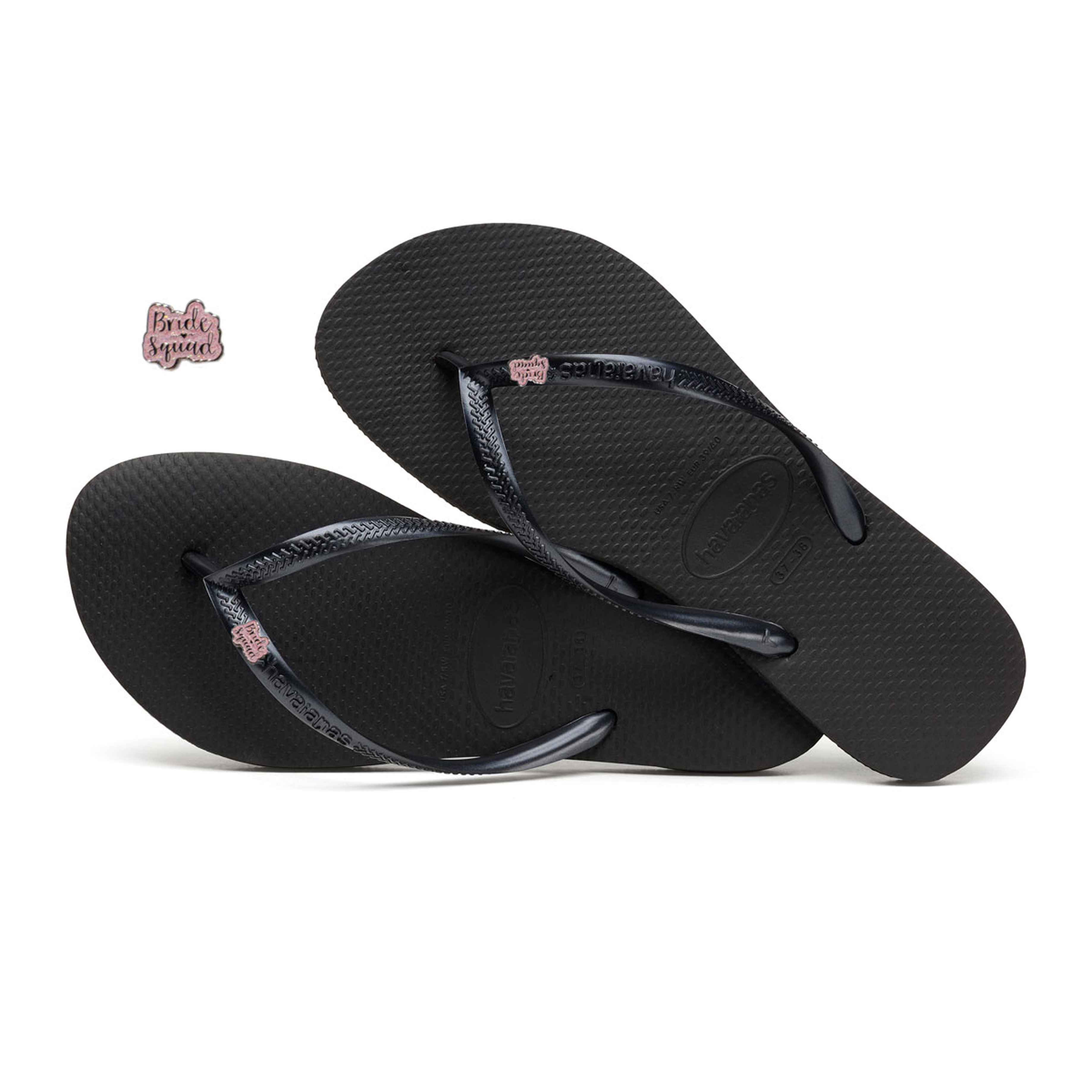 Havaianas Black Slim Flip Flops with Pink Glitter Bride Squad Charm