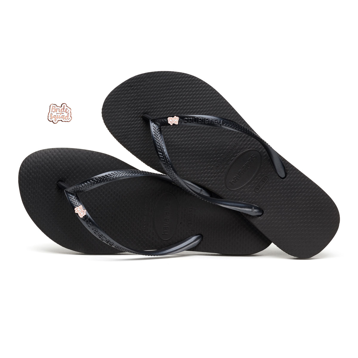 Havaianas Black Slim Flip Flops with Rose Gold Bride Squad Charm
