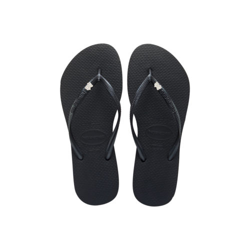 Havaianas Black Slim Flip Flops with Silver & White Bride Squad Charm