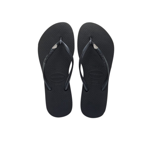 Havaianas Slim Black Flip-Flops with Glitter 'The Bride' Charm Wedding