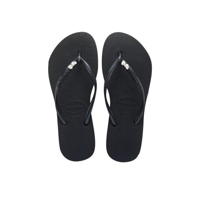Havaianas Heel Black Flip-Flops with Heart Silver Charm Personalised