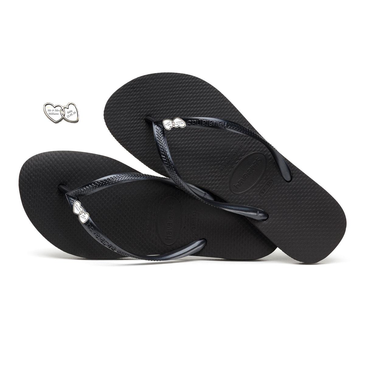 Havaianas Slim Black Flip-Flops with Double Heart Silver Charm Wedding