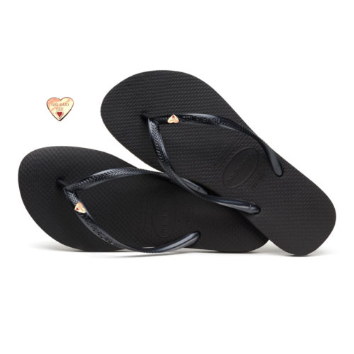 Havaianas Slim Black Flip-Flops with Rose Gold Heart Charm Wedding