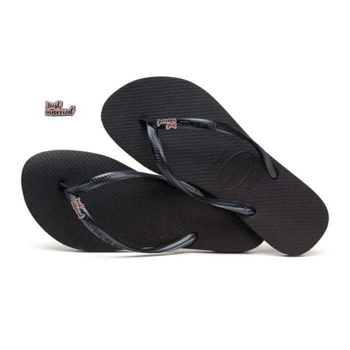 Havaianas Black Slim Flip Flops with Pink Glitter Just Married Charm