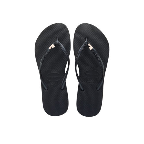 Havaianas Black Slim Flip Flops with Rose Gold Just Married Charm