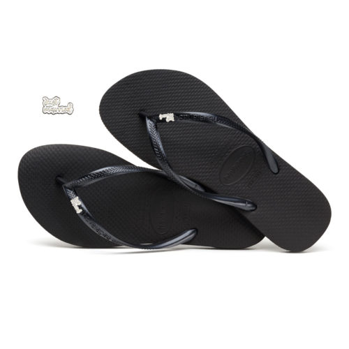 Havaianas Black Slim Flip Flops with Silver & White Just Married Charm
