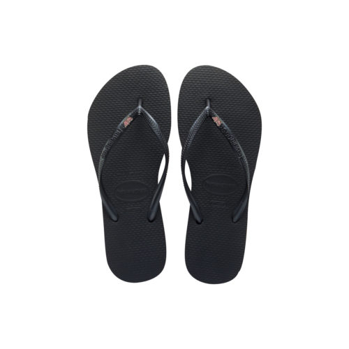 Havaianas Black Slim Flip Flops with Pink Glitter Maid of Honour Charm