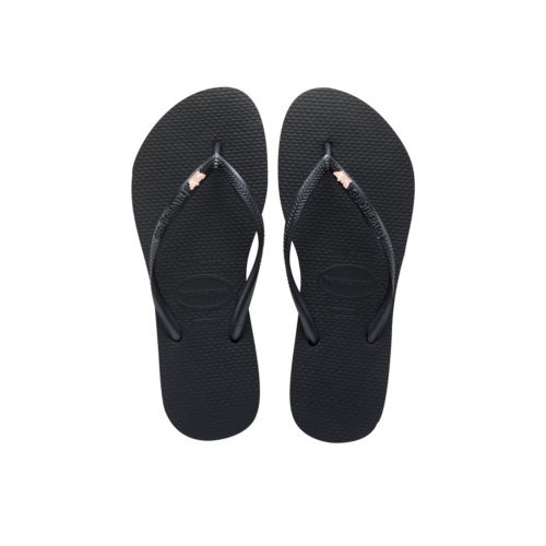 Havaianas Black Slim Flip Flops with Rose Gold Maid of Honour Charm