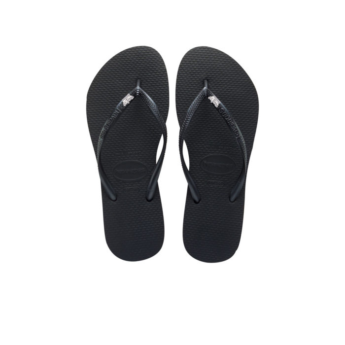Havaianas Black Slim Flip Flops with Silver & White Maid of Honour Charm