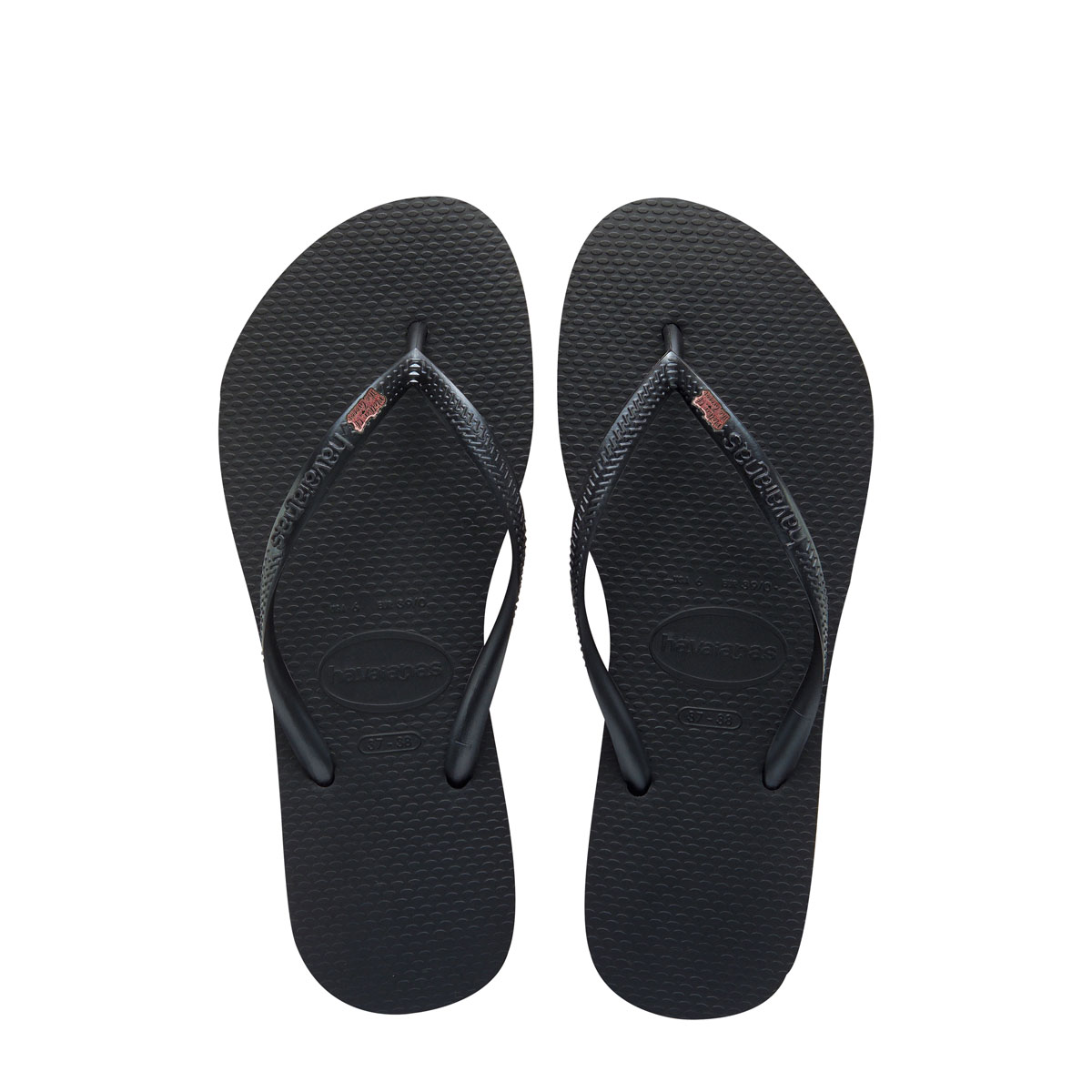 Havaianas Black Slim Flip Flops with Pink Glitter Mother of the Groom Pin