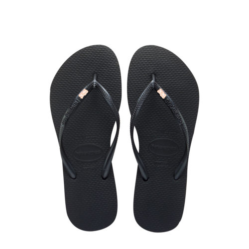 Havaianas Black Slim Flip Flops with Rose Gold Mother of the Groom Pin