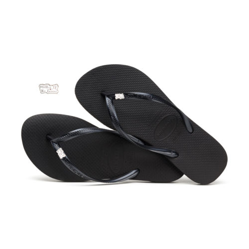 Havaianas Black Slim Flip Flops with Silver Mother of the Groom Charm