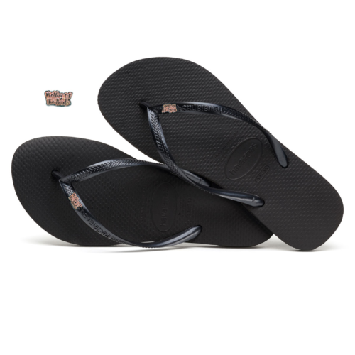 Havaianas Black Slim Flip Flops with Pink Glitter Mother of the Bride Pin
