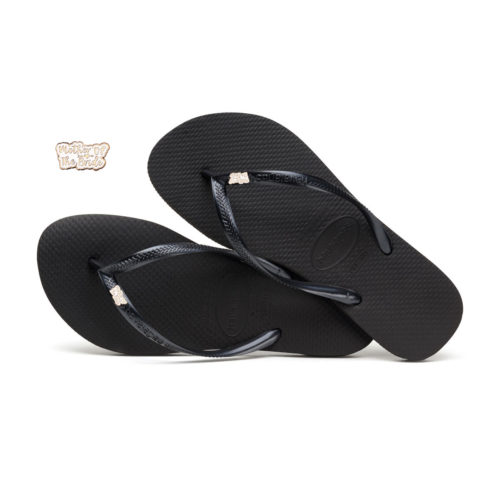 Havaianas Black Slim Flip Flops with Rose Gold Mother of the Bride Pin