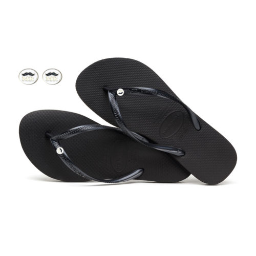 Havaianas Black Slim Flip Flops with Mr and Mr Silver Wedding Charm