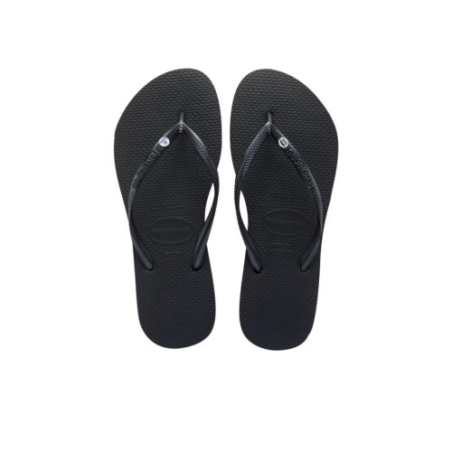 Havaianas Black Slim Flip Flops with Silver Mr and Mrs Wedding Charm