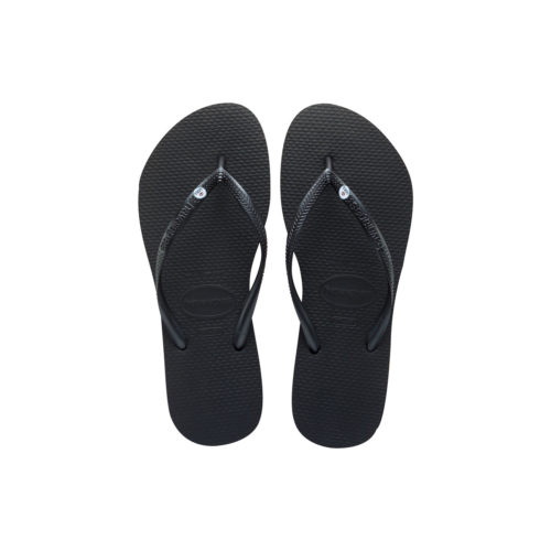 Havaianas Black Slim Flip Flops with Silver Mrs and Mrs Wedding Charm