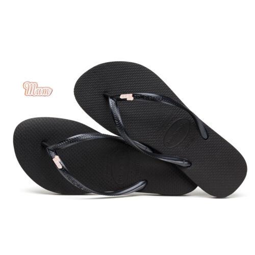 Havaianas Black Slim Flip Flops Rose Gold Mum Charm