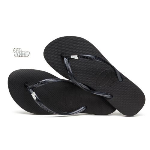 Havaianas Black Slim Flip Flops with Silver Mum Charm