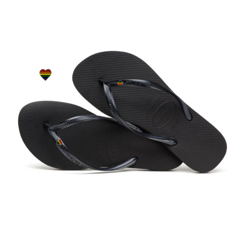 Havaianas Slim Black Flip-Flops with Pride Heart Charm LGBT
