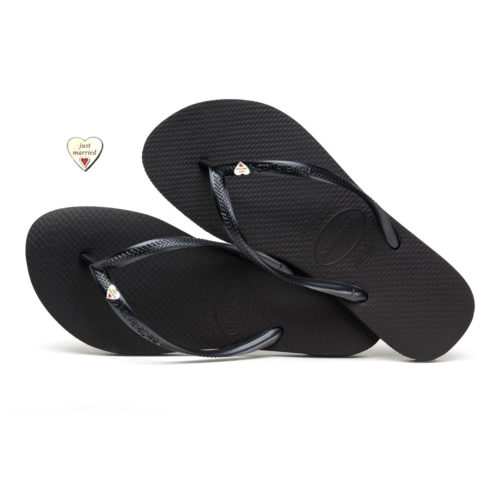 Havaianas Slim Black Flip-Flops with Silver Heart Charm Wedding