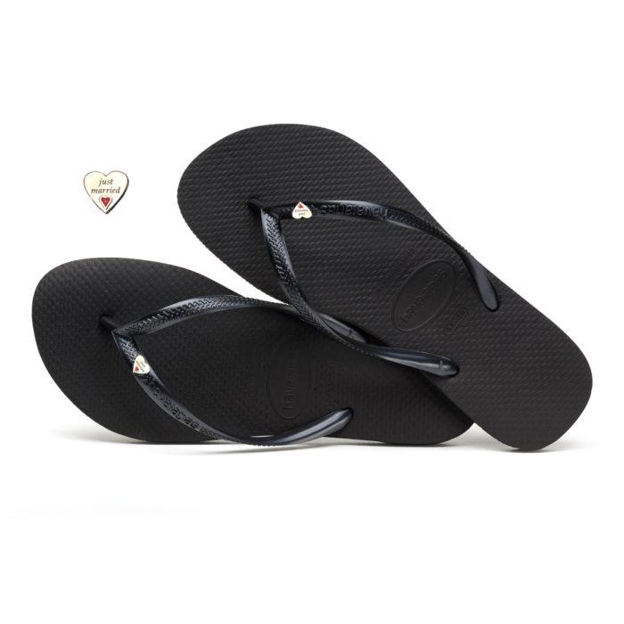 Havaianas Slim Black Flip-Flops with Silver Heart Charm Wedding