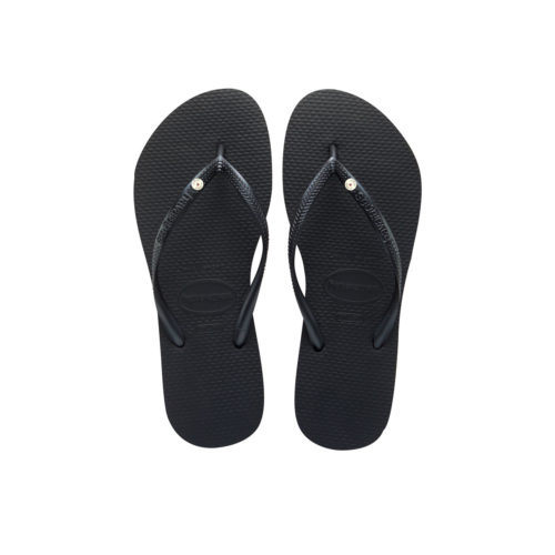 Havaianas Slim Black Flip-Flops with Round Silver Charm Wedding