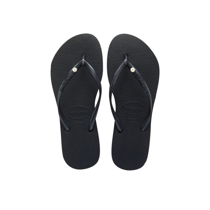 Havaianas Slim Black Flip-Flops with Round Silver Charm Wedding